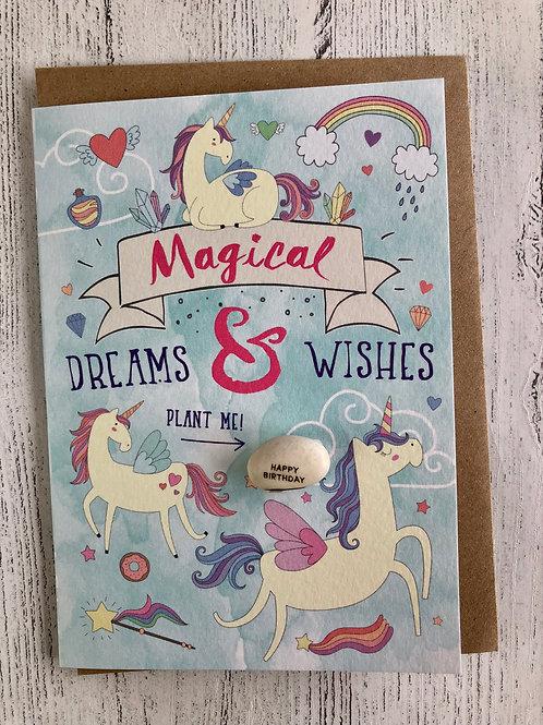 Magical Unicorn Birthday Bean Card