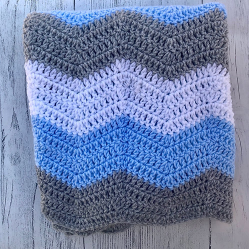 Zig Zag Handmade Crochet Blanket
