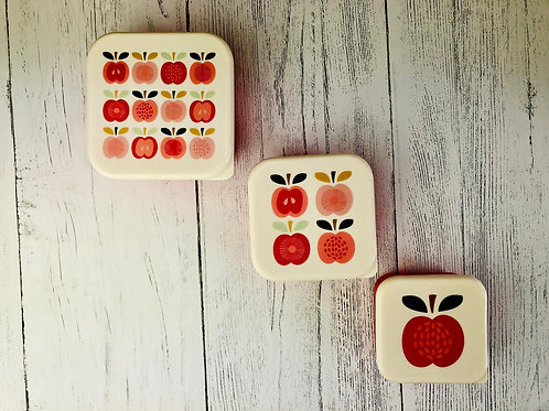 Apple Lunch Stacking Lunch Boxes, Set of 3