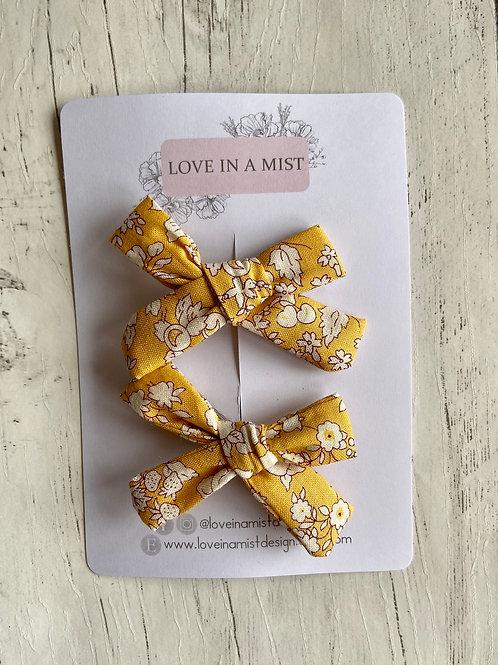 Mustard Floral Mini Bows