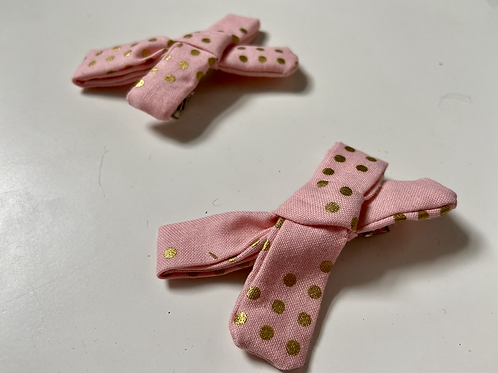 Pink & Gold Spot Mini Fabric Bow