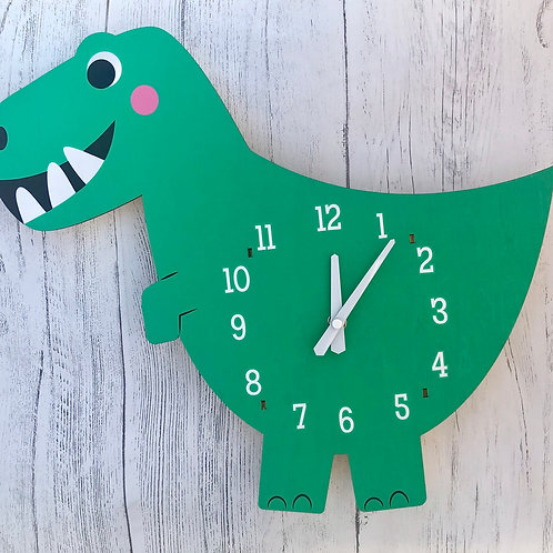 Dex The Dinosaur Wooden Wall Clock