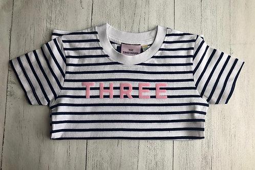Striped Short Sleeve Age Three Tee