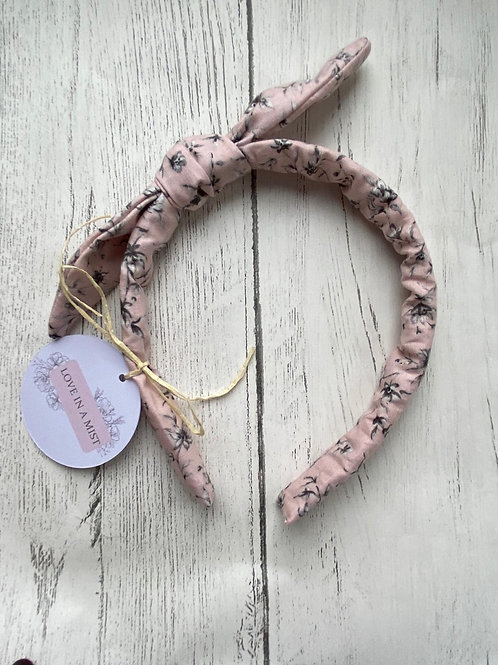 Pink floral bow headband