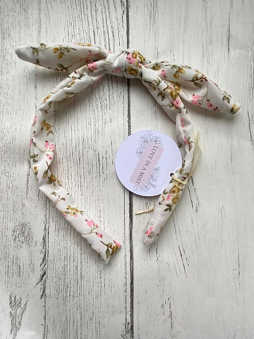 Ivory floral bow headband