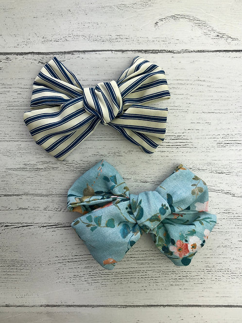 Floral & Stripe Printed Hair Bows