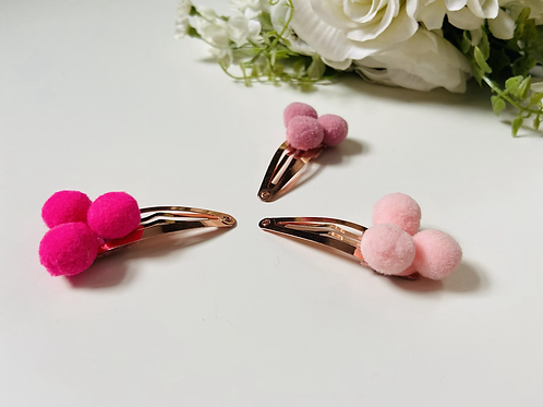 Pom Pom snap clip hair slides, set