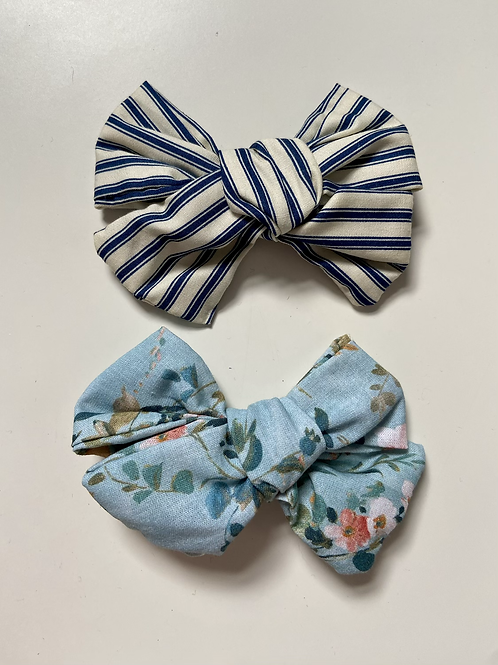 Floral & Stripe Printed Hair Bows