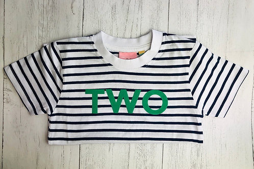 Striped Age Two Short Sleeve Tee