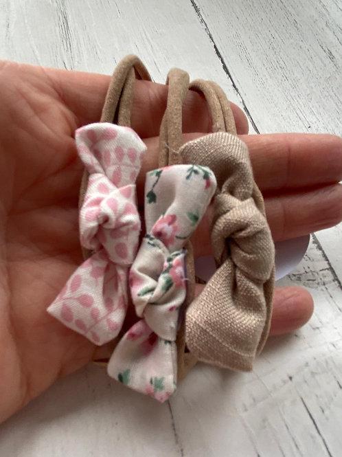 3 pink hand tied dainty knot bow baby elastic headbands