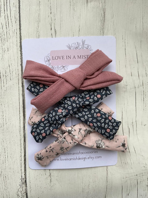 Pink floral midi hand tied bows set of 3