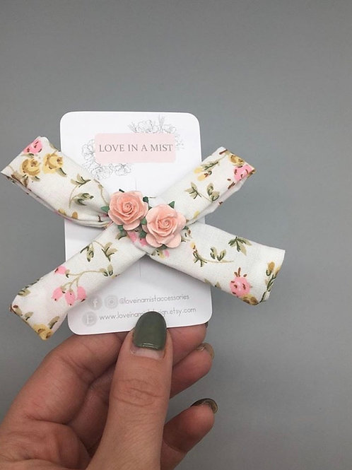 Floral hair clip with two mulberry paper flowers
