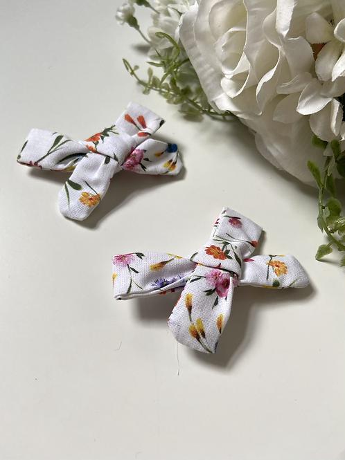 Mini White Multi Floral Bows