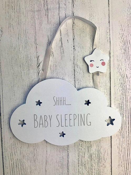 Shh Baby Sleeping Hanging Plaque