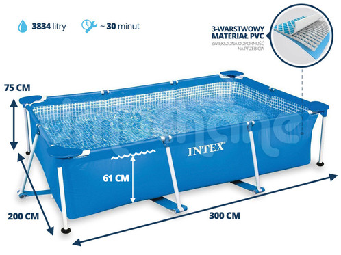Intex small family frame pool 3m x 2m x intex for Swimmingpool 3m