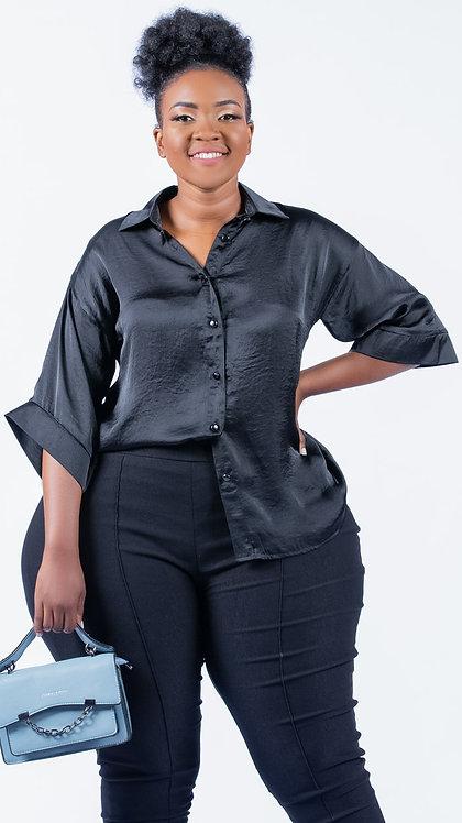 Hammered satin blouse