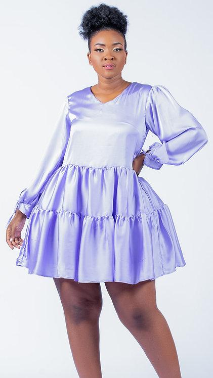 Satin long sleeved flared dress - Purple