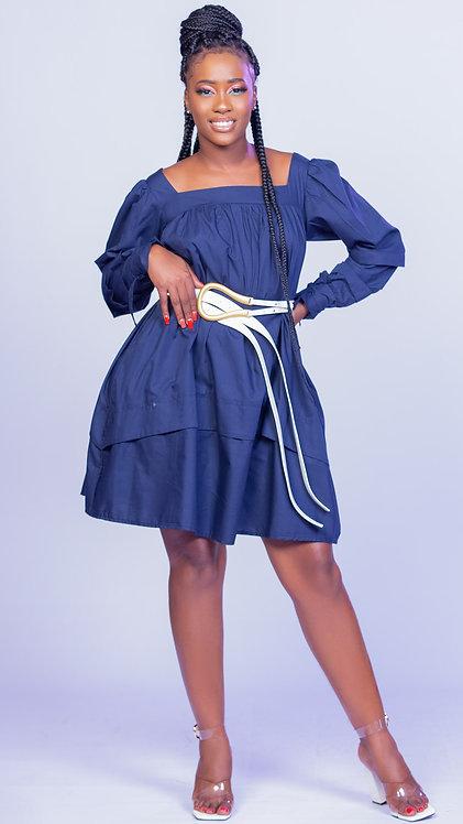 Navy long sleeved shift dress