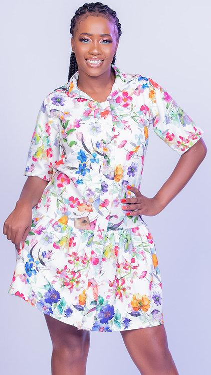 Scuba print shirt dress