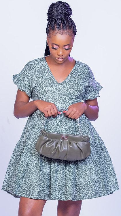 Green floral cotton smock dress