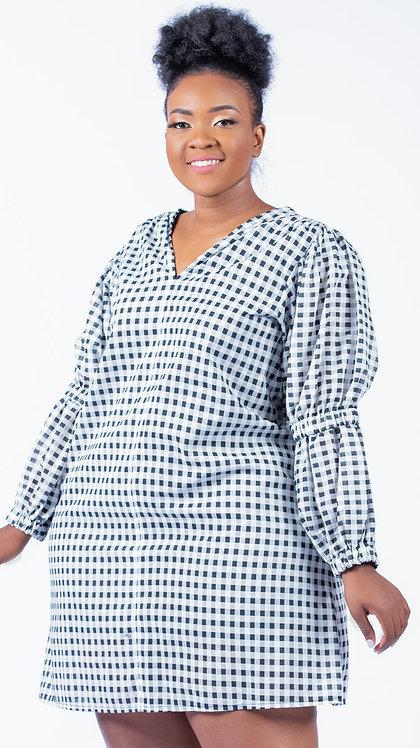 Checkered cotton dress - Black & White