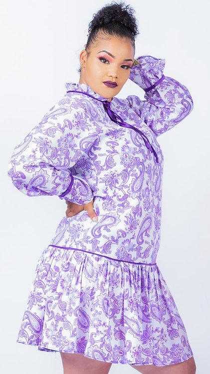 Paisley print dress - Purple