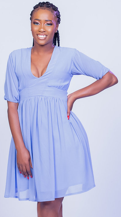Chiffon puffed sleeve dress with fitted waist - Lilac