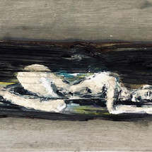 acrylic on driftwood.  sold.