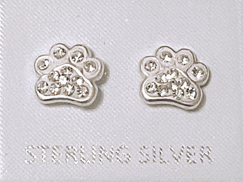 Solid silver 925 paw print earrings