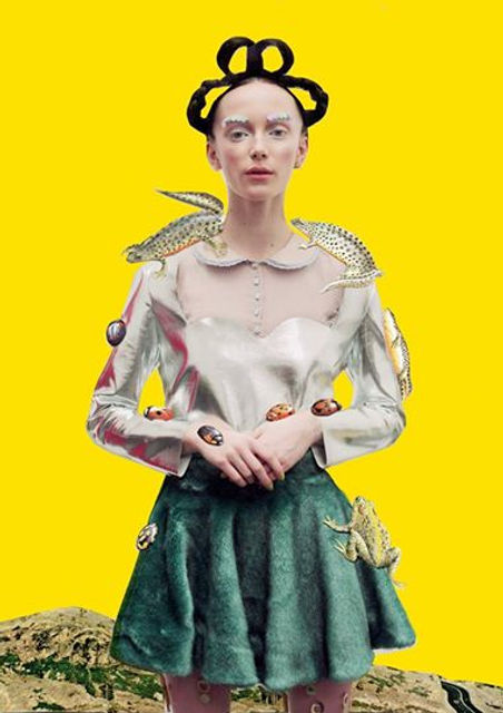 Art & Fashion Director: Claudia Mac - Model: Maxine Anastasia - Photographer: Eleanor Hardwick Brand: Dagda London - Collage: Ben Giles - Lookbook fashion editorial photoshoot yellow collection, crocodiles, frog, ladybug