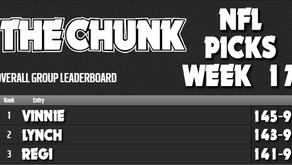 NFL Picks from The Chunkers: Week 17