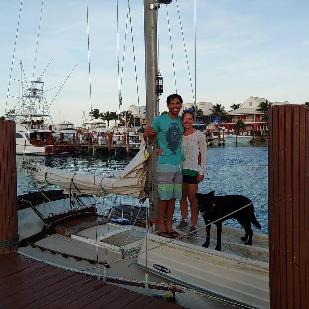 couple, sailing couple. boat dog, gypsy days, sv gypsy days, s/v gypsy days, newport 30, west end, the bahamas, sailing the bahamas