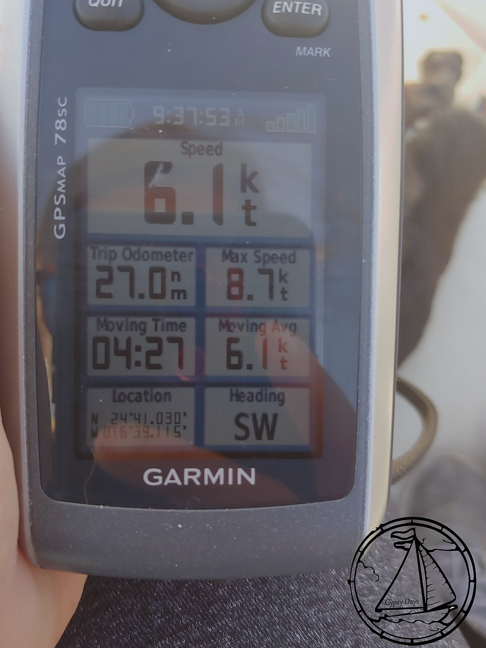 gps, garmin, average speed, 6 knots, motorsailing