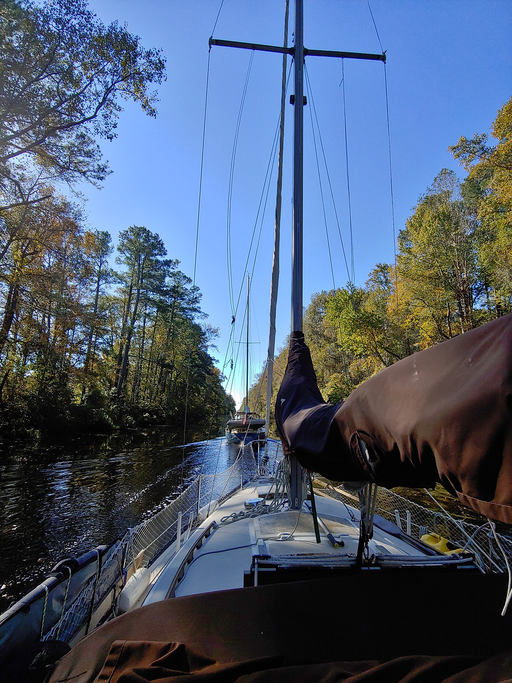towed, two sailboats, being towed, dismal swamp canal
