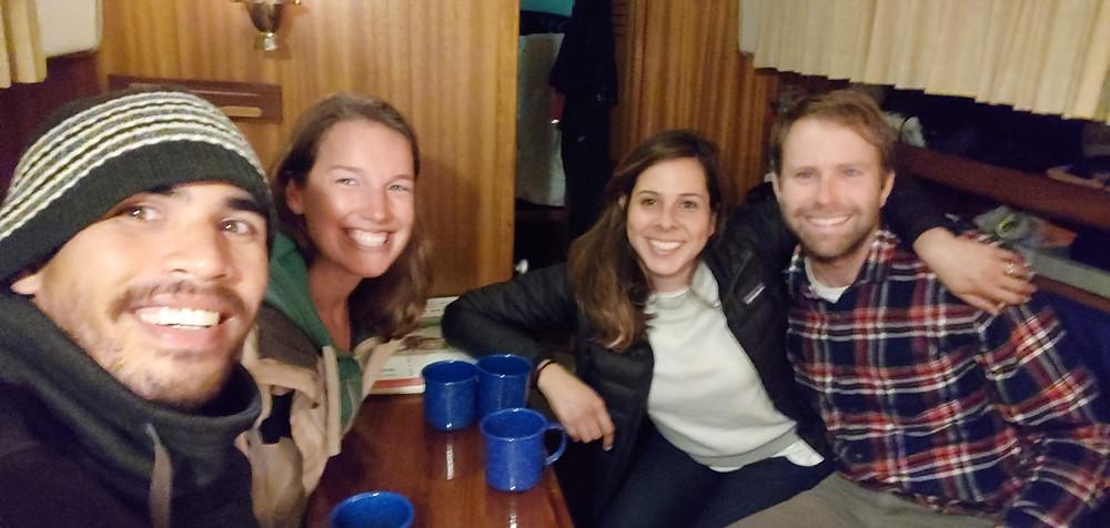 friends, drinks, aboard a boat