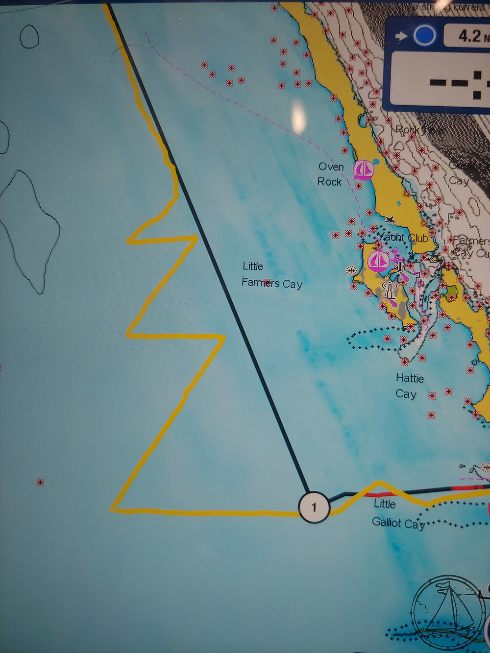 Navionics route showing tacking down Little Farmer's Cay