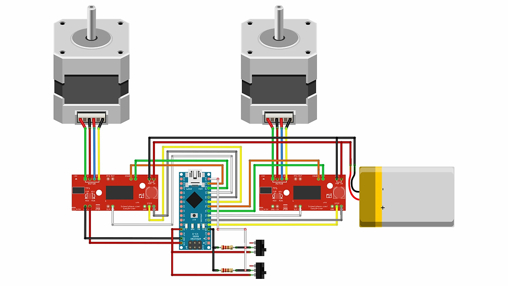 Circuit diagram with Arduino Nano and two Stepper motors