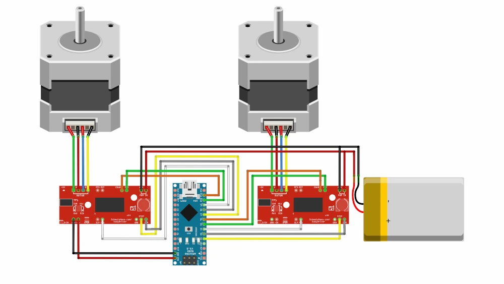 Wiring diagram with two stepper motors and motor drivers
