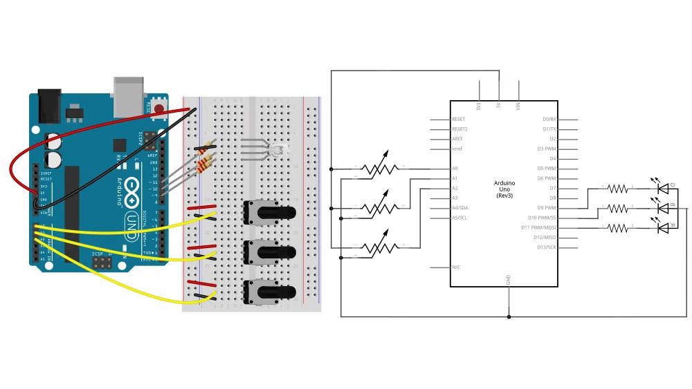 Arduino breadboard and circuit diagram for analog (PWM) output examlple