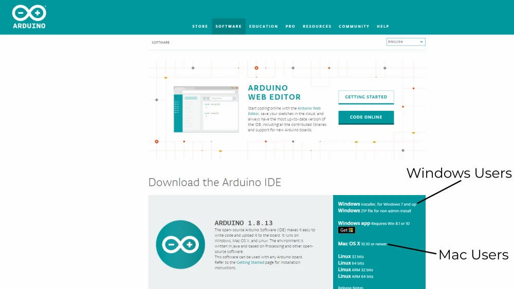 The Arduino IDE is available for Windows, Mac, and Linux users.