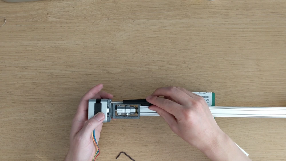 securing a stepper motor to a lead screw