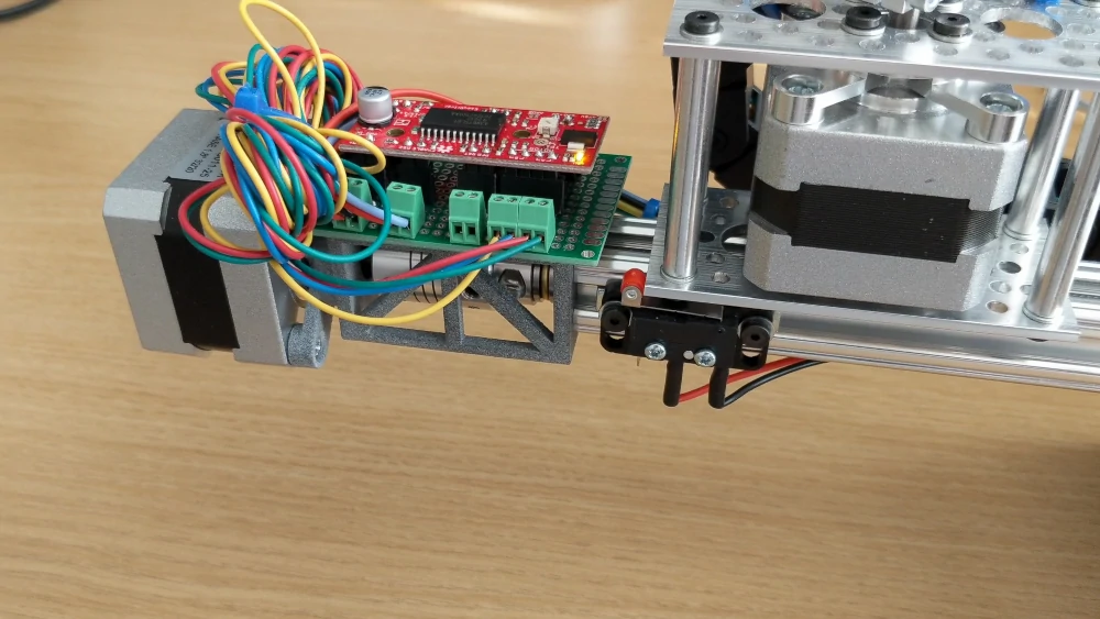 triggering a limit switch on a lead screw, extruded rail assembly