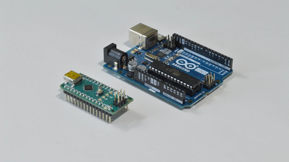 The Arduino Nano and Arduino Uno are great microcontrollers to get started with robotics projects at home.