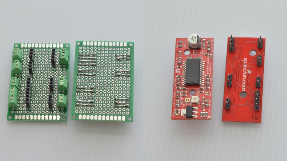 Stepper motor controller with prototyping board, header pins, and terminal blocks