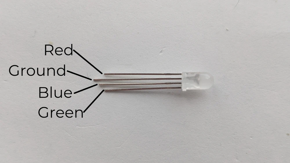 RGB LED with pins labeled