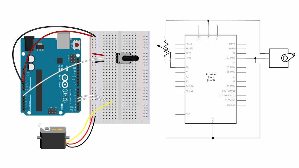 Arduino servo and potentiometer circuit diagram