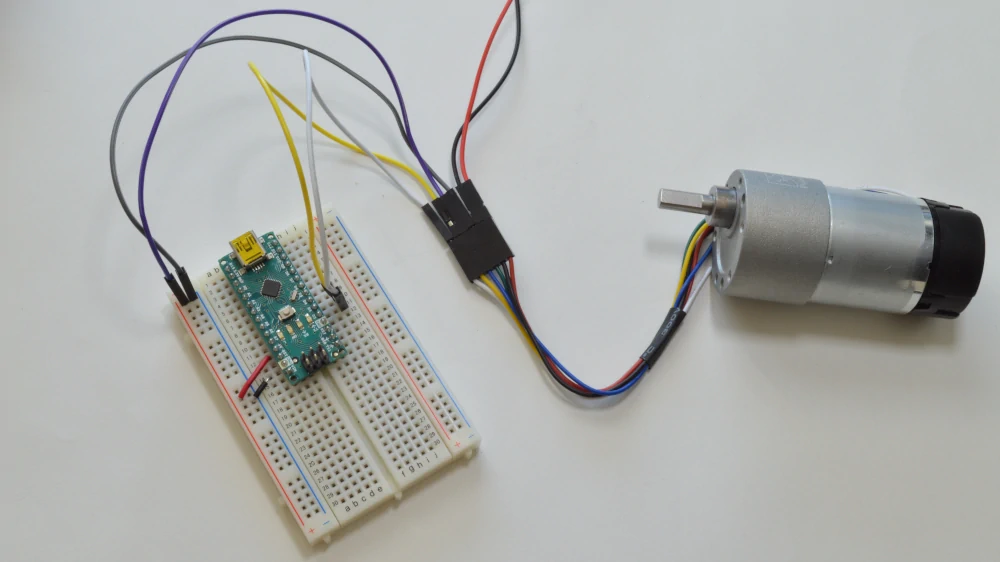 Connecting the brushed DC Motor with encoder to the Arduino Nano, breadboard, and motor driver
