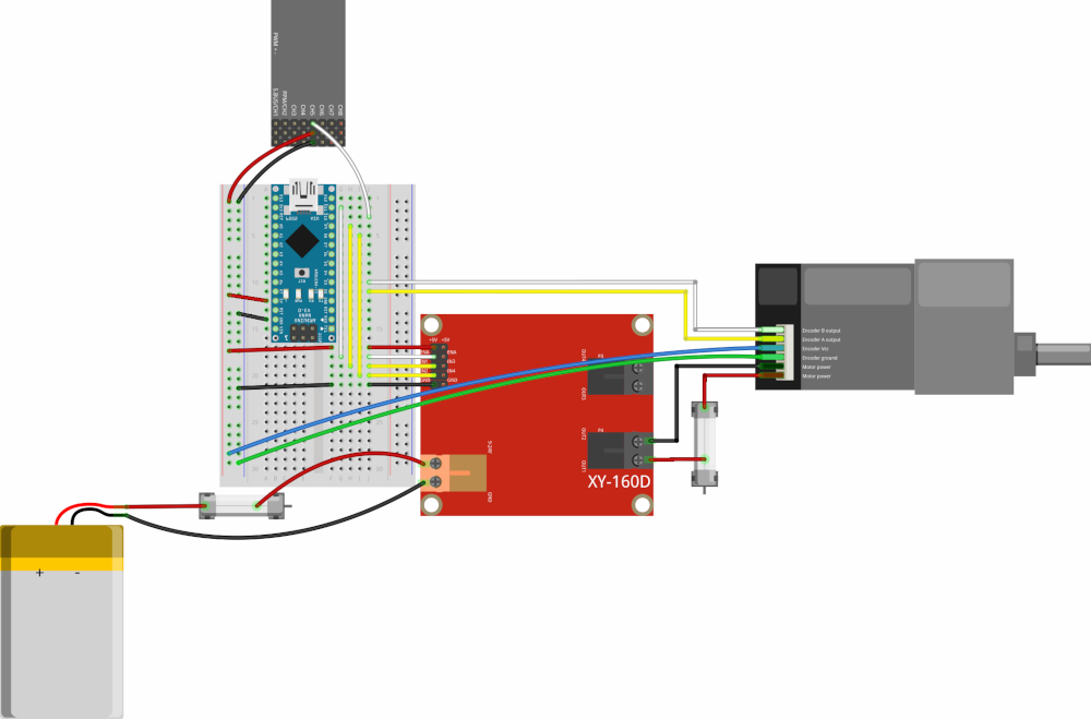 Simplified wiring diagram to control a brushed DC motor controller with an encoder