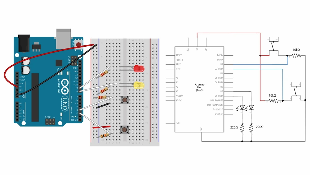 Arduino Wiring Diagram for Digital Input and Output