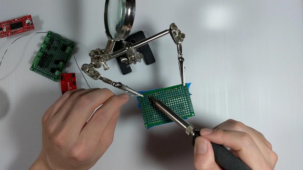 soldering header pins for a stepper motor driver
